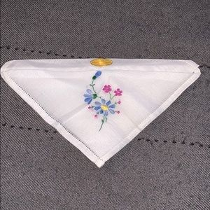 Vintage handkerchief with floral embroidery